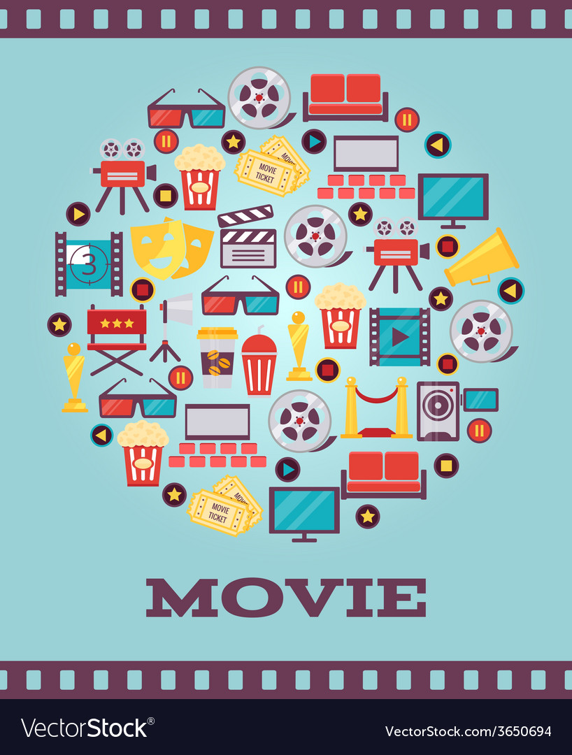 I love movies concept graphic designs vector | Price: 1 Credit (USD $1)