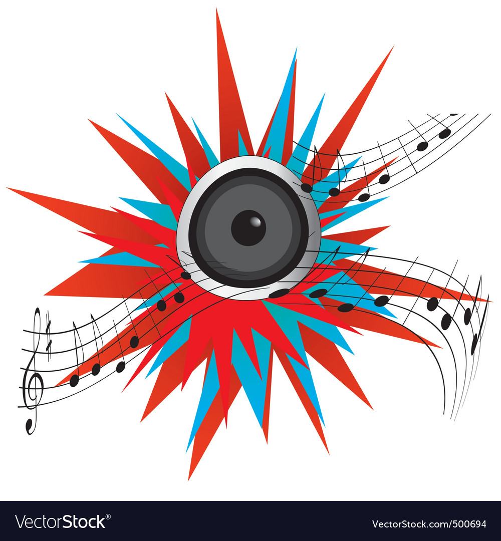 Loud music from a speaker vector | Price: 1 Credit (USD $1)