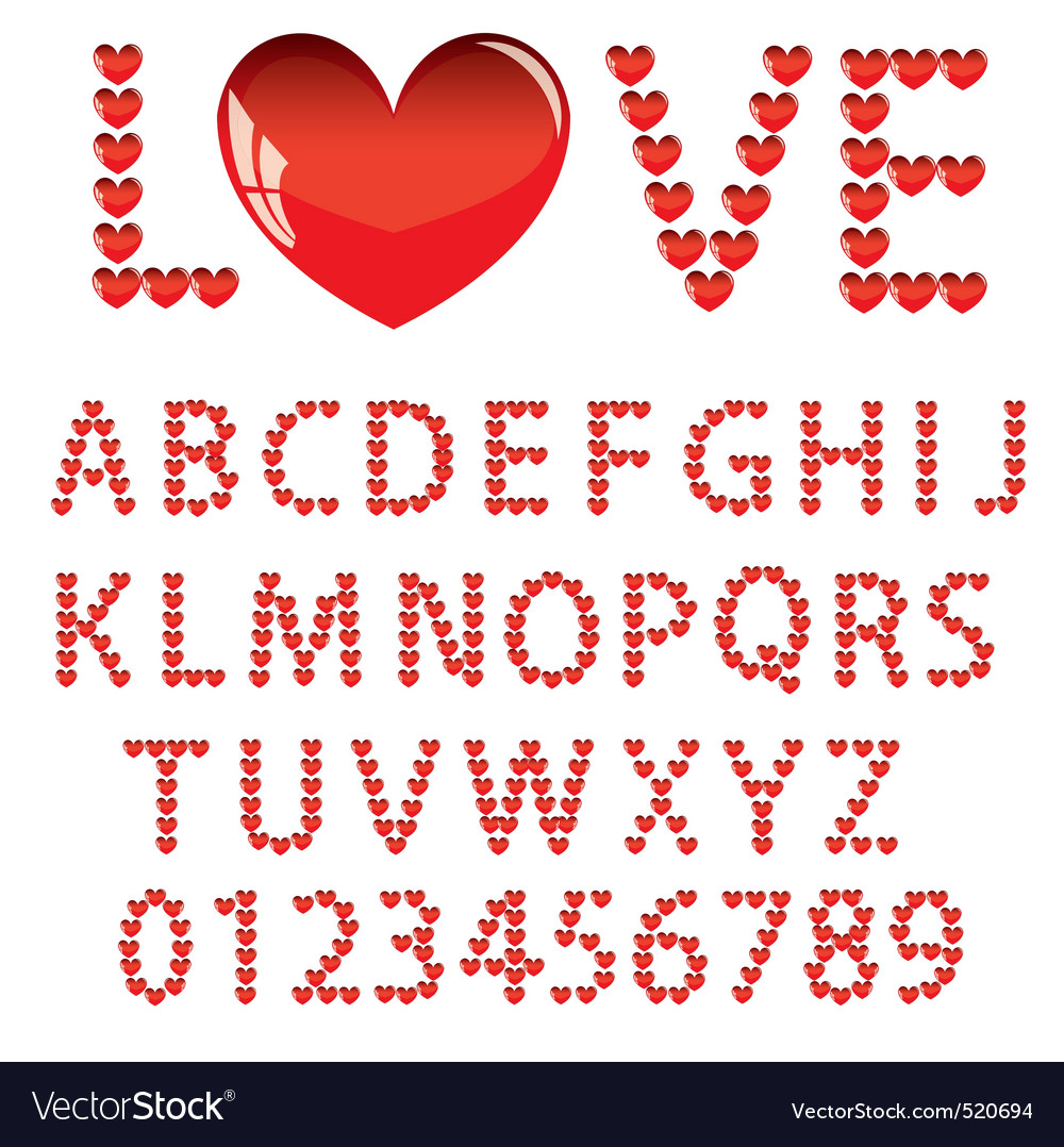 Love the alphabet with a heart letters and numbers vector | Price: 1 Credit (USD $1)