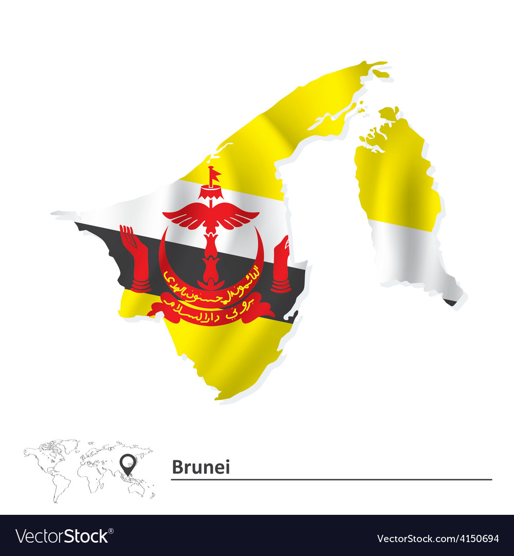 Map of brunei with flag vector | Price: 1 Credit (USD $1)
