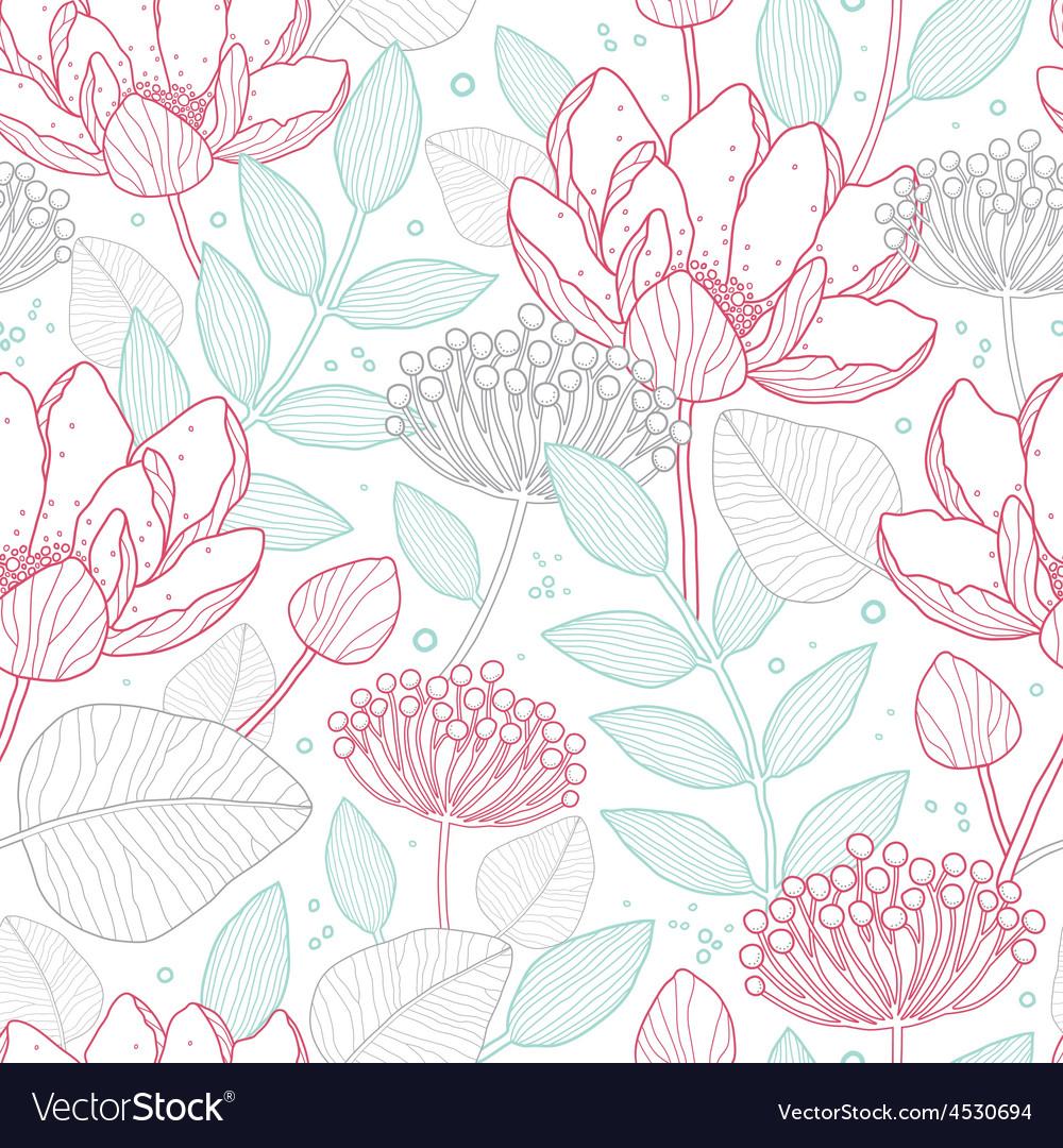 Modern line art florals seamless pattern vector | Price: 1 Credit (USD $1)