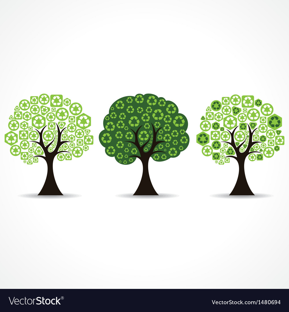 Set of trees forming by green recycle icons vector | Price: 1 Credit (USD $1)