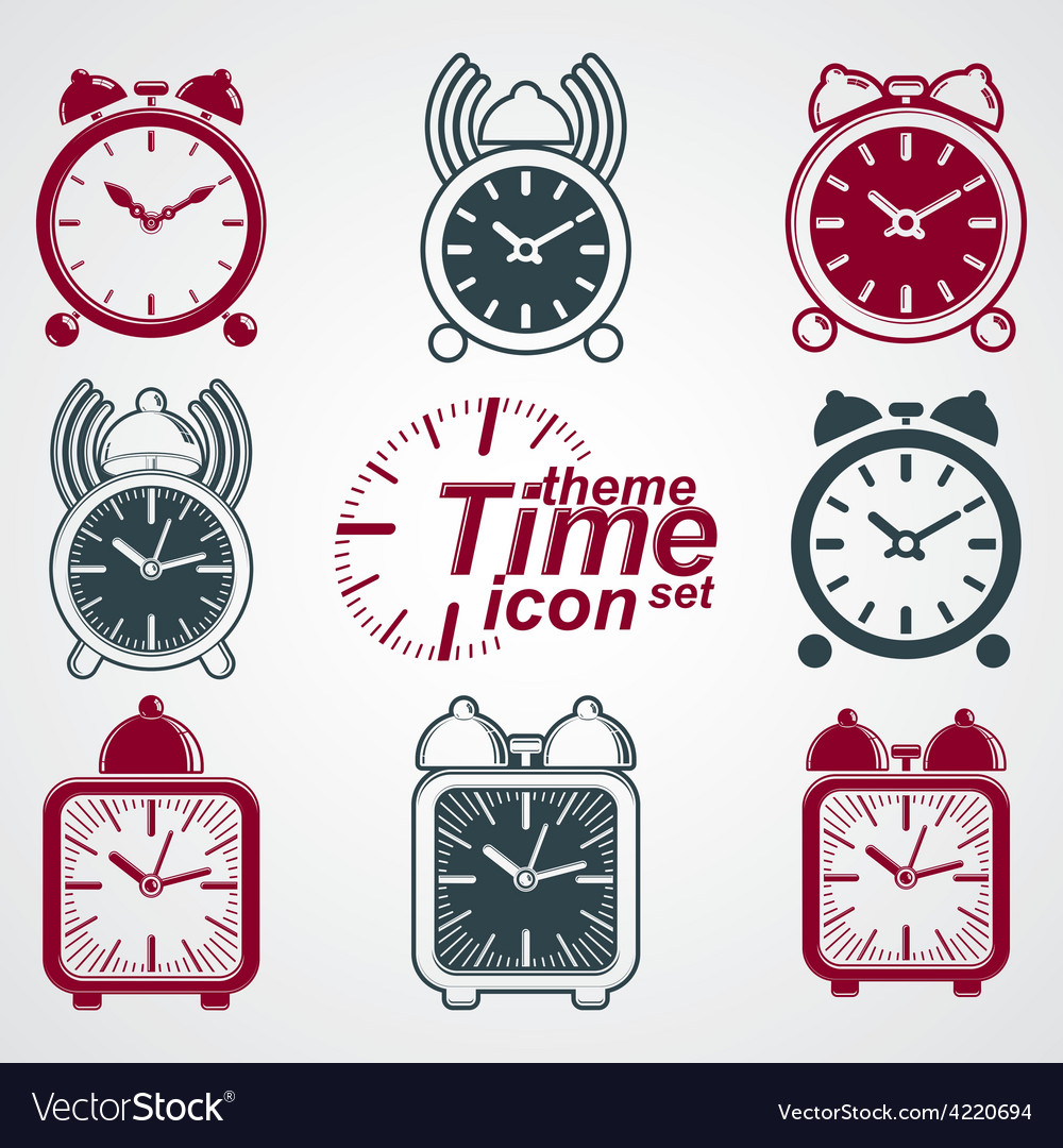 Squared 3d alarm clocks with clock bell decorative vector | Price: 1 Credit (USD $1)