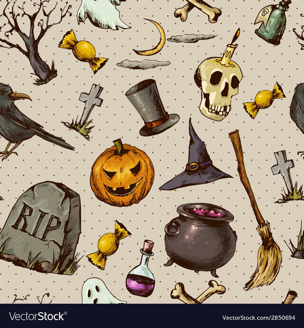 Vintage hand drawn halloween seamless background vector   Price: 1 Credit (USD $1)