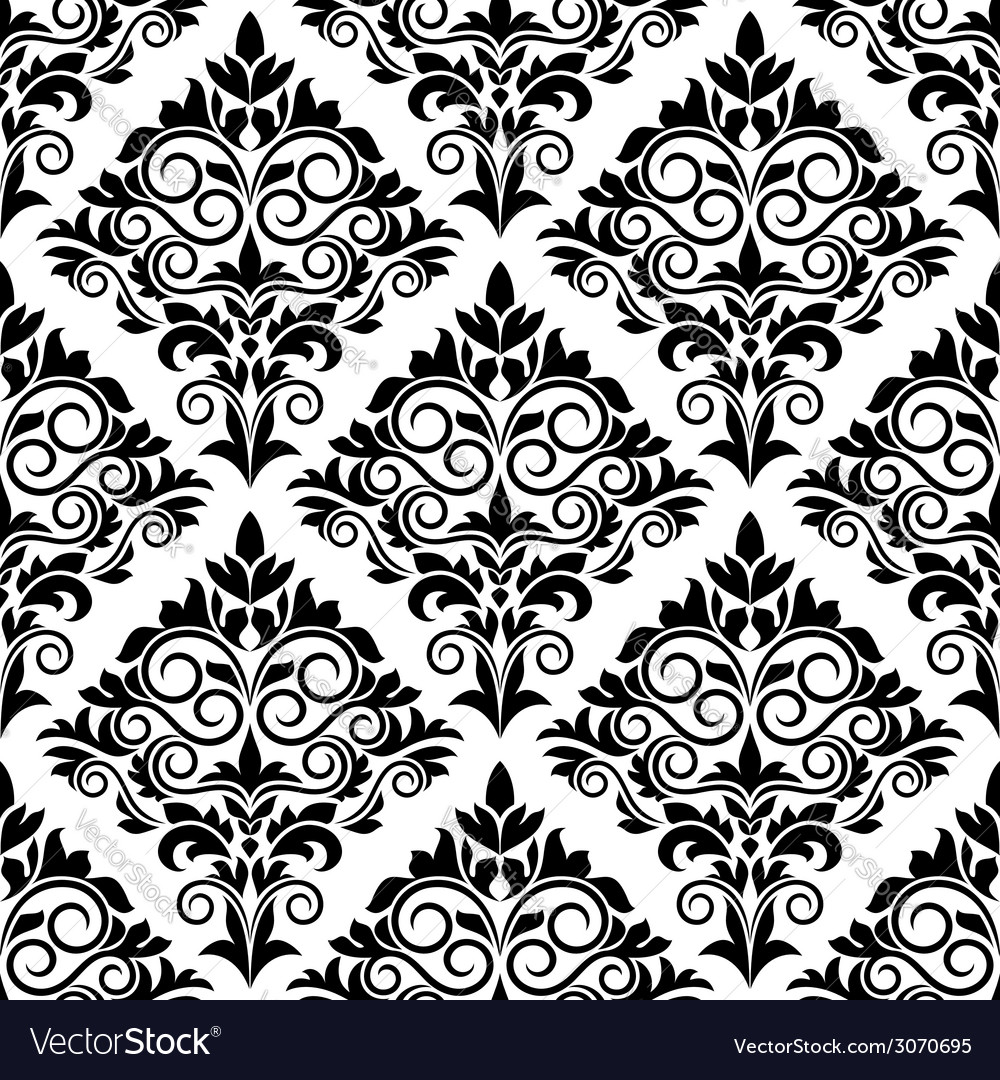 Black and white arabesque seamless pattern design vector