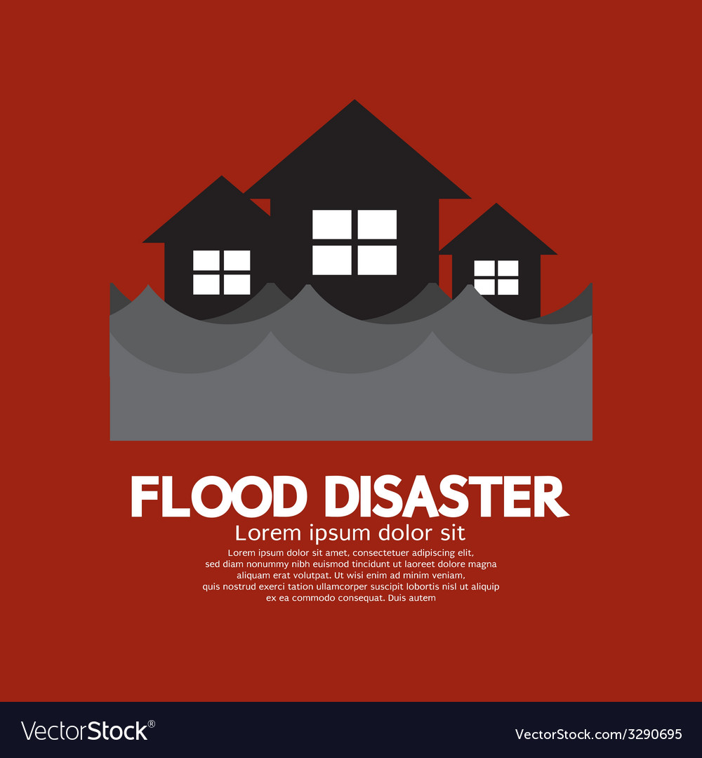 Building soaking under flood disaster vector | Price: 1 Credit (USD $1)