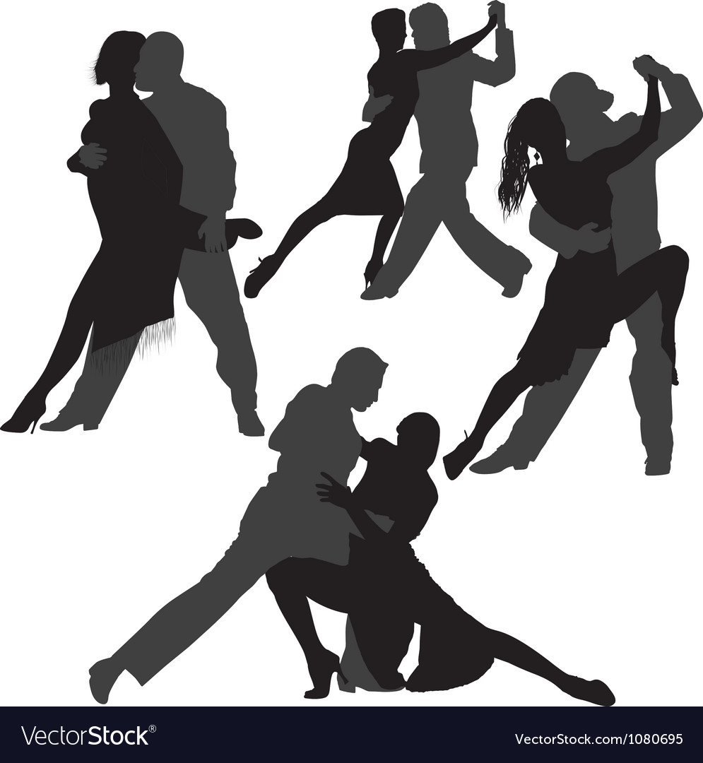 Couple dancing tango silhouette set vector | Price: 1 Credit (USD $1)