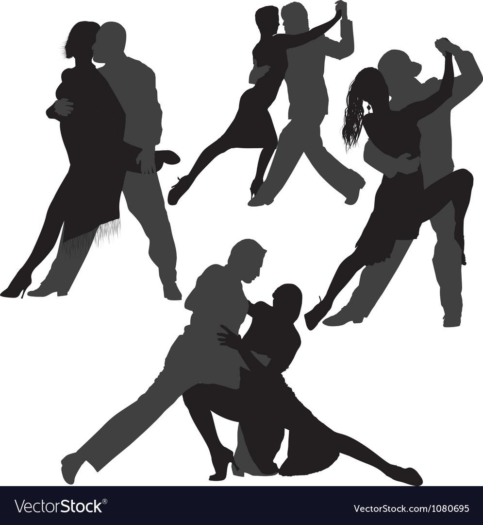 Couple dancing tango silhouette set vector   Price: 1 Credit (USD $1)
