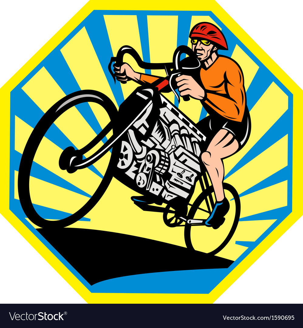 Cyclist riding racing bicycle with v8 car engine vector | Price: 1 Credit (USD $1)