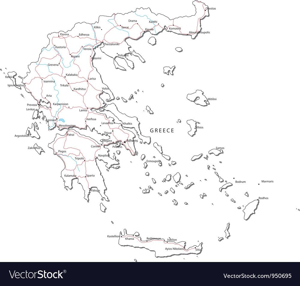 Greece black white map vector | Price: 1 Credit (USD $1)