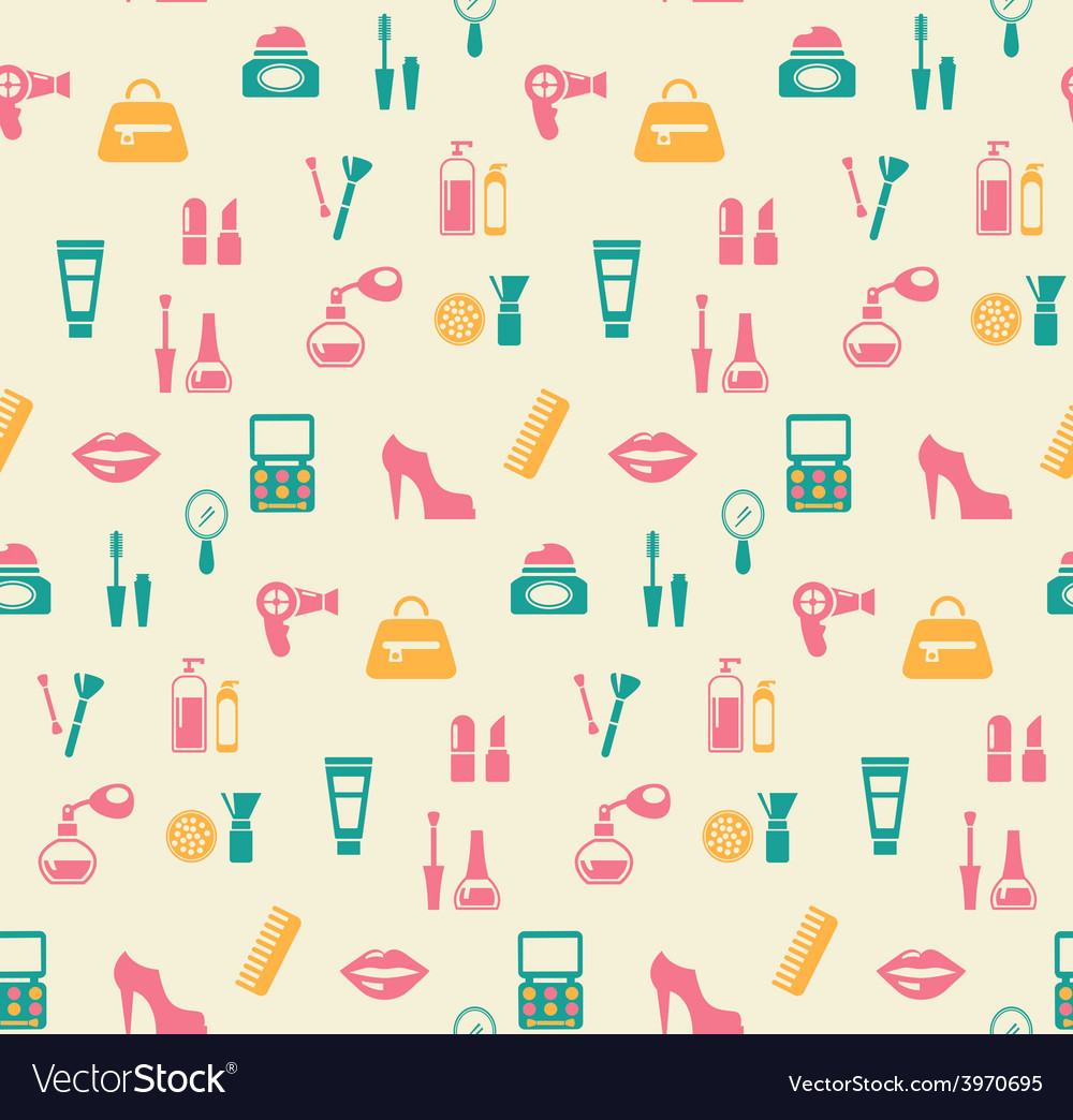 Hairstyling fashion and makeup seamless pattern vector | Price: 1 Credit (USD $1)