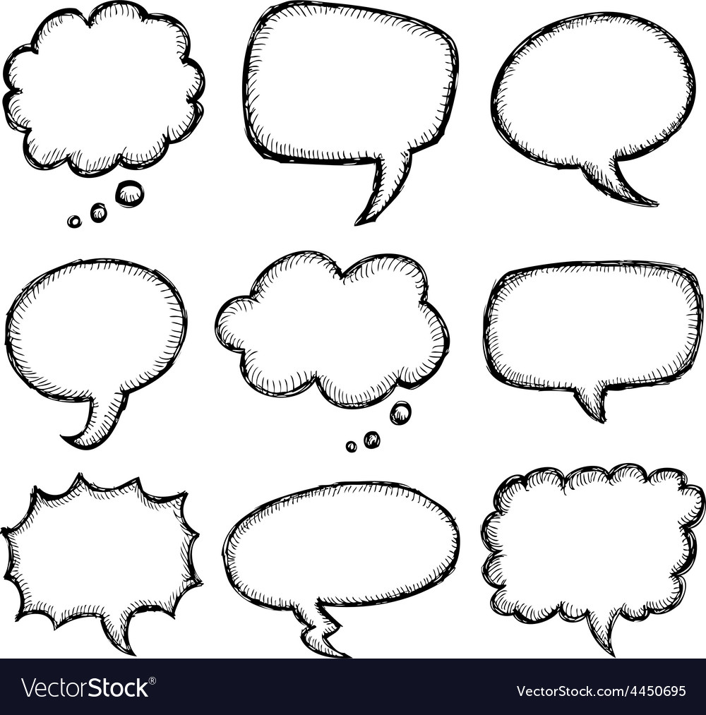 Hand drawn comic speech bubble vector | Price: 1 Credit (USD $1)