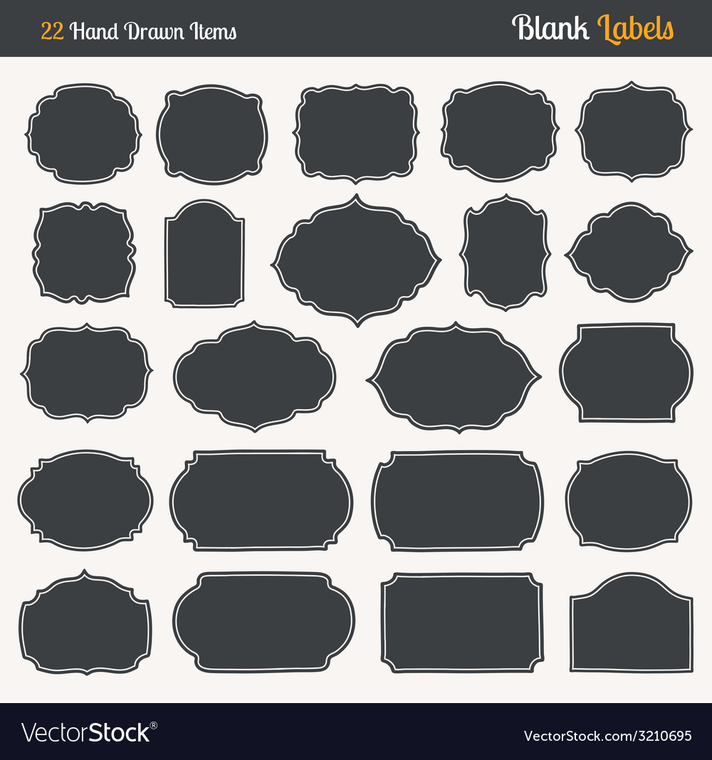 Handrawn blank labels vector | Price: 1 Credit (USD $1)