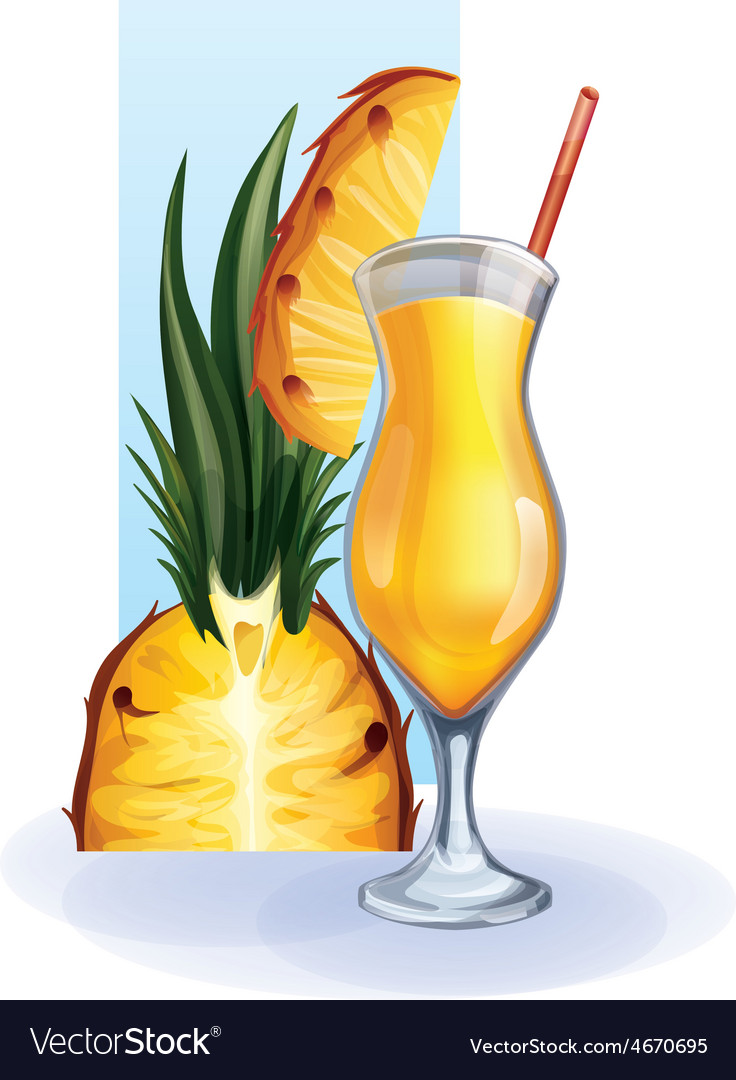 Pineapple in goblet of juice cocktail smoothie vector | Price: 1 Credit (USD $1)