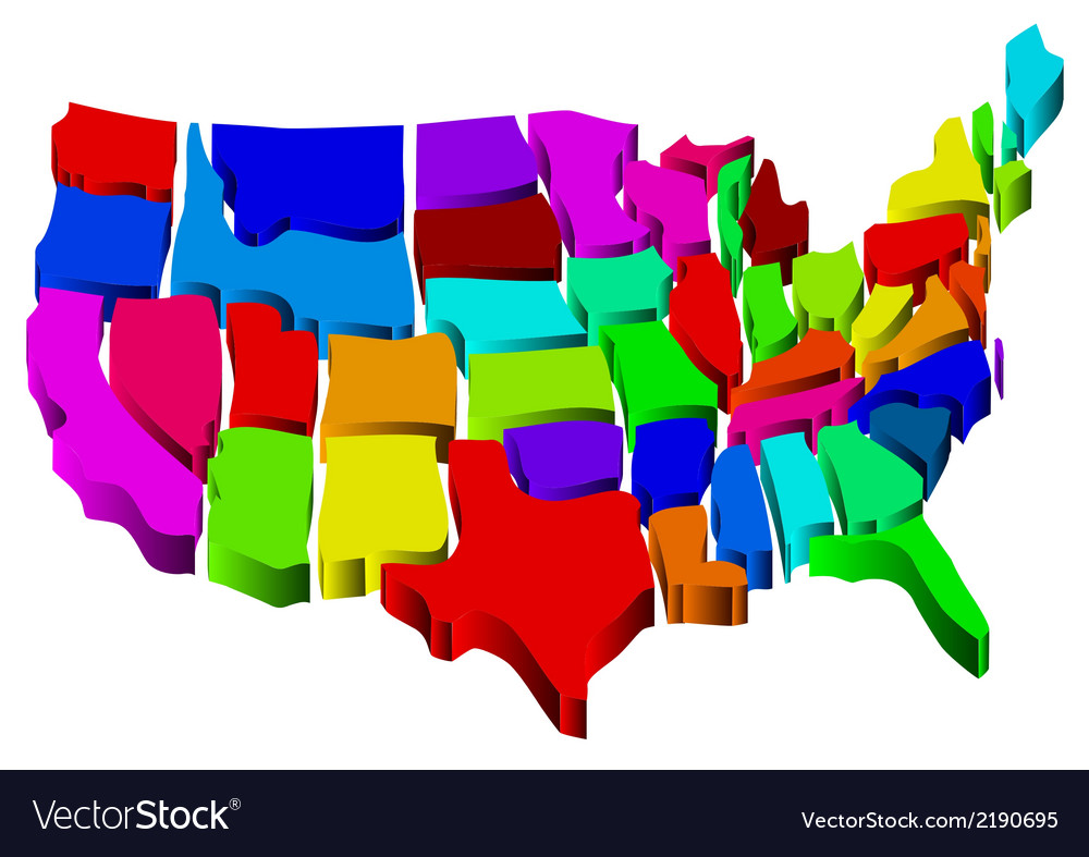 United states map vector | Price: 1 Credit (USD $1)