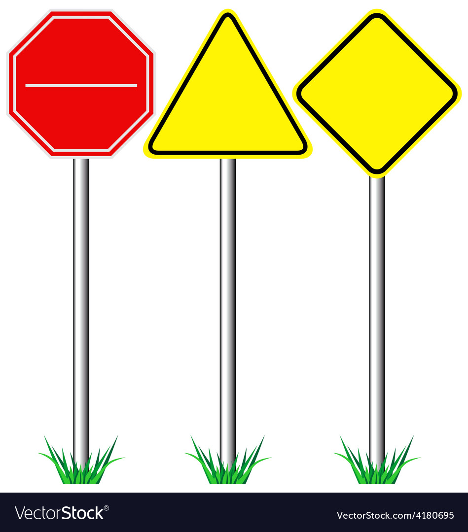 Yellow warning information and red stop road signs vector | Price: 1 Credit (USD $1)