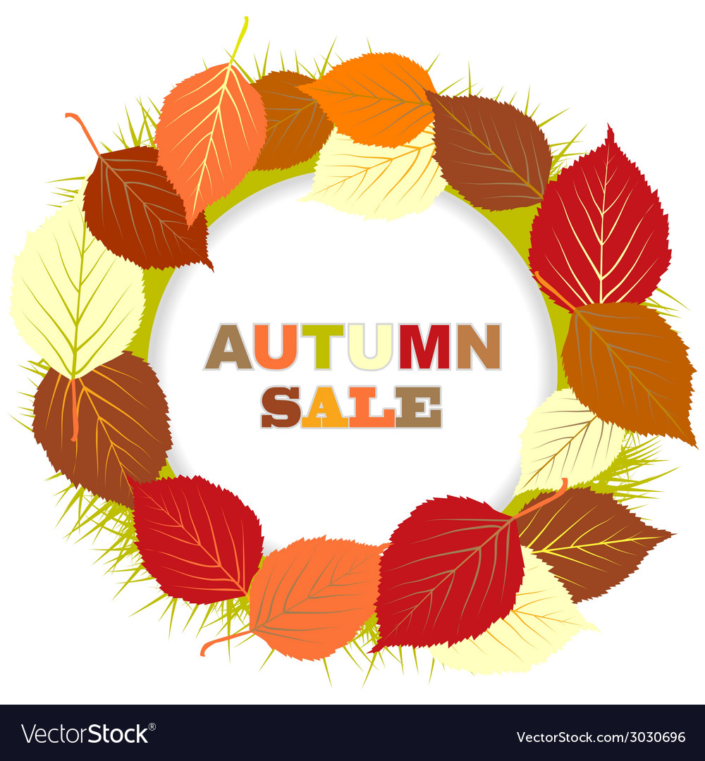 Autumn sale with frame of leaves vector | Price: 1 Credit (USD $1)