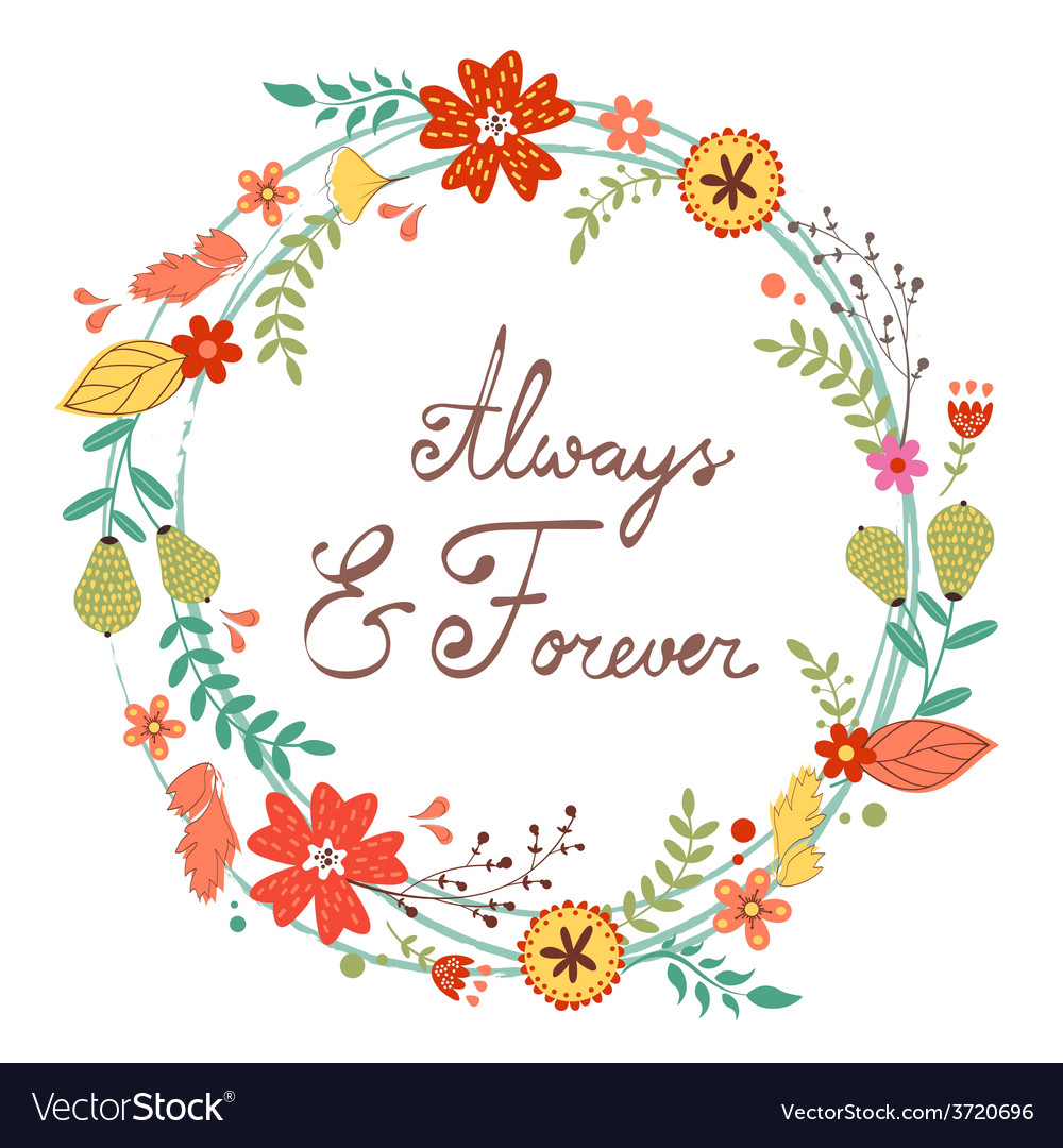 Beautiful greeting card with floral wreath vector | Price: 1 Credit (USD $1)