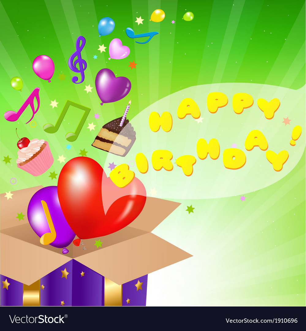 Birthday card with box vector | Price: 1 Credit (USD $1)