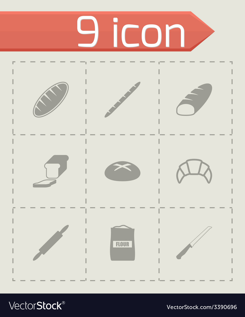 Black bakery icon set vector | Price: 1 Credit (USD $1)