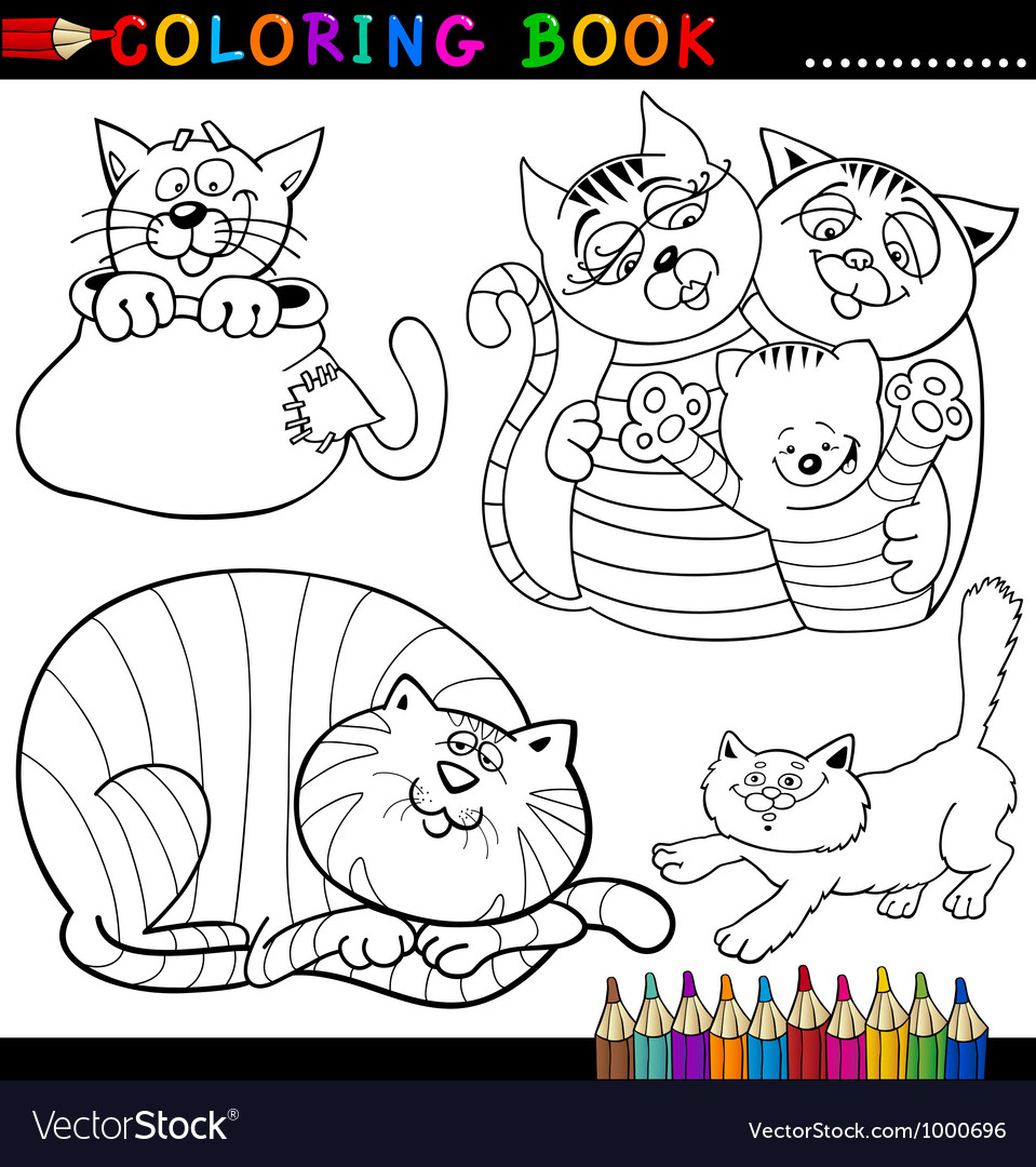 Cartoon cats for coloring book or page vector | Price: 3 Credit (USD $3)