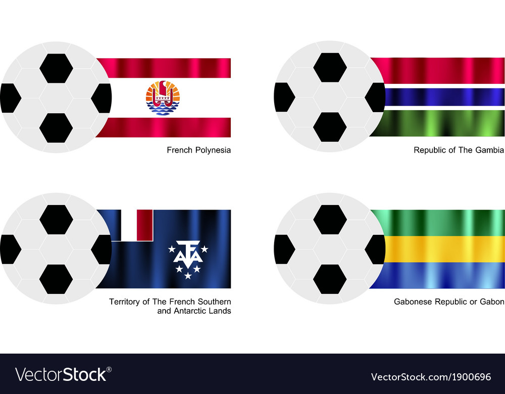 Football with french polynesia gambia flag vector | Price: 1 Credit (USD $1)