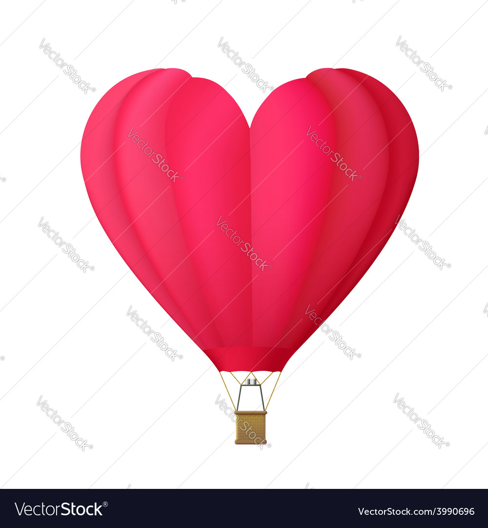 Hot air balloon in the shape of heart isolated on vector | Price: 1 Credit (USD $1)