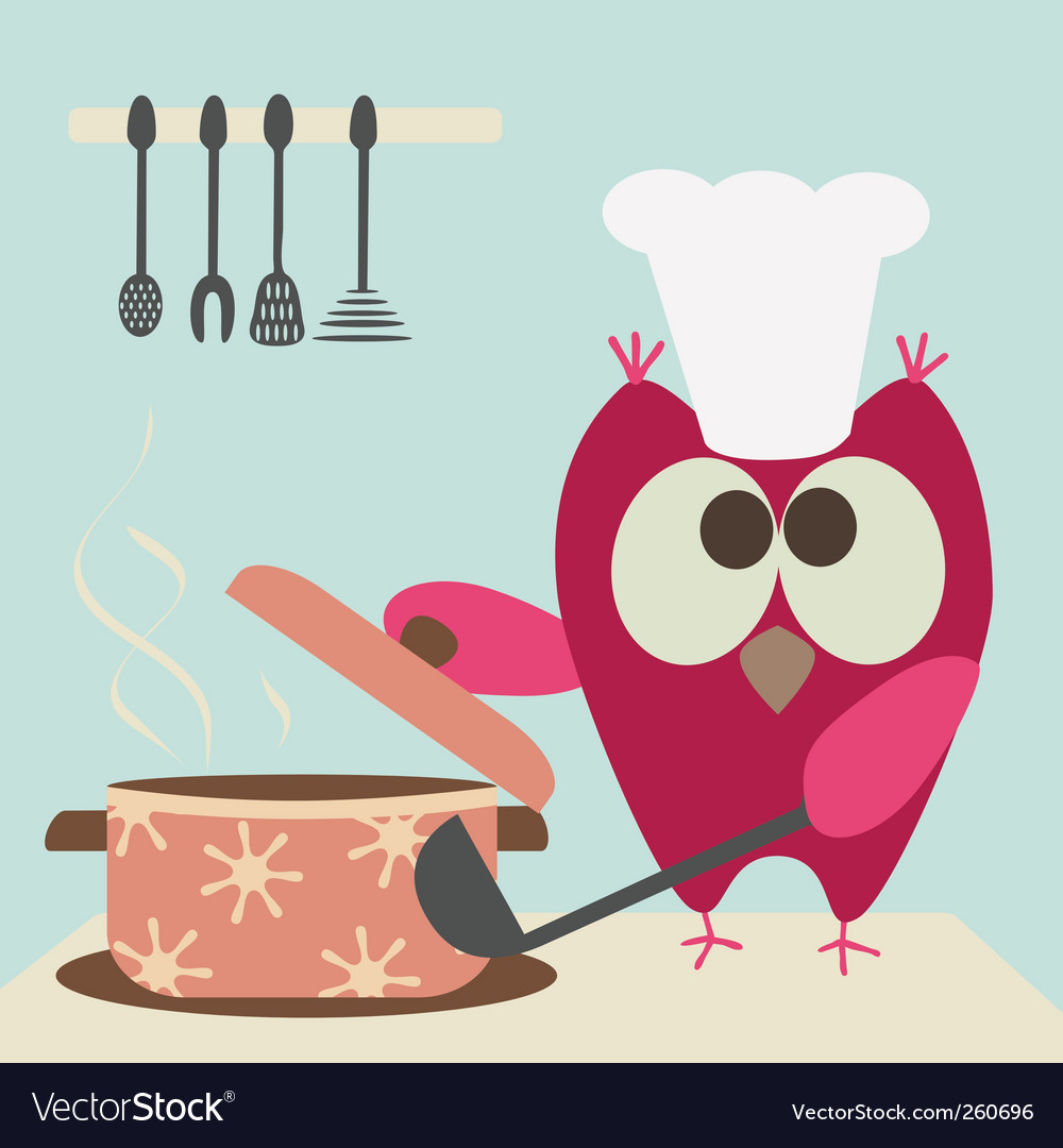 Owl and bowl vector | Price: 1 Credit (USD $1)
