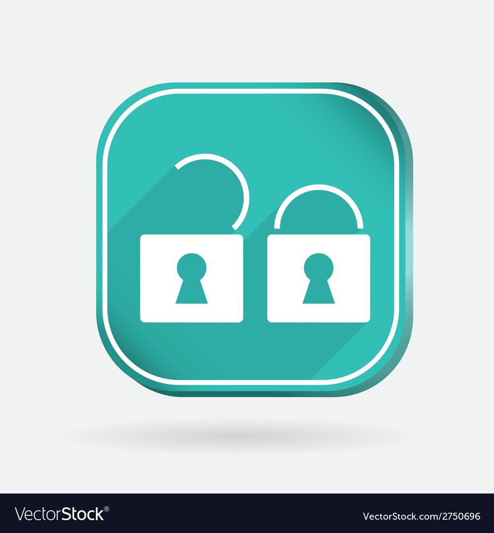 Padlock color square icon vector | Price: 1 Credit (USD $1)