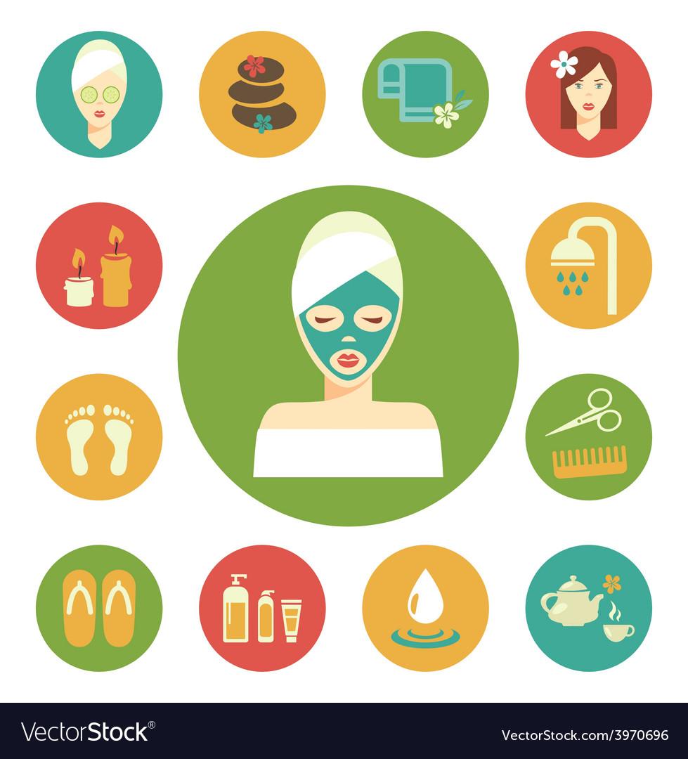 Salon spa icon set vector | Price: 1 Credit (USD $1)