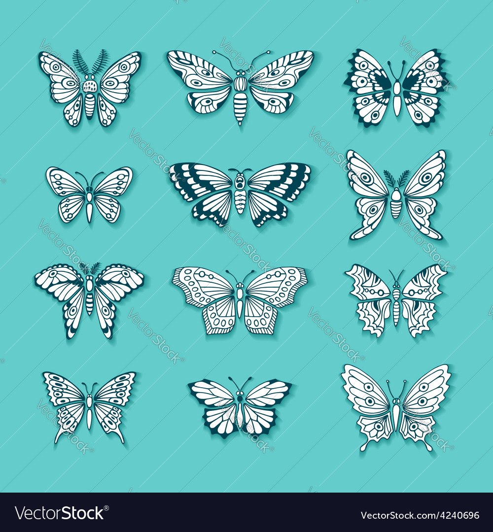 Set of butterflies decorative isolated silhouettes vector | Price: 1 Credit (USD $1)