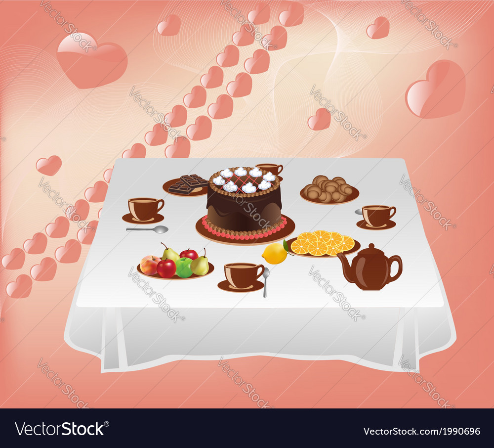 Table with sweets vector | Price: 1 Credit (USD $1)