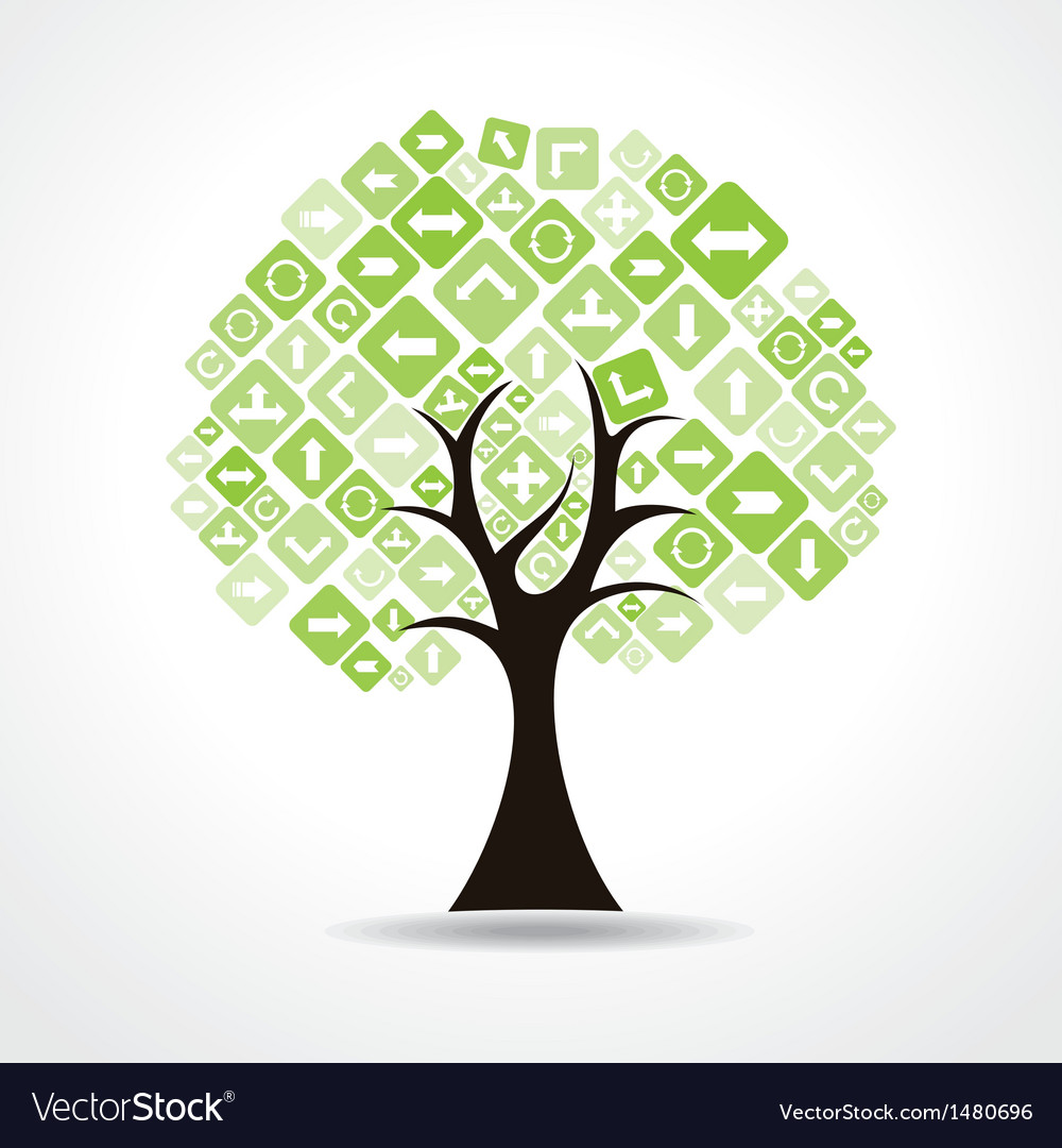 Tree with green arrow icons vector | Price: 1 Credit (USD $1)