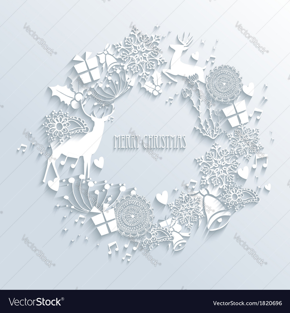 White merry christmas wreath greeting card vector | Price: 1 Credit (USD $1)
