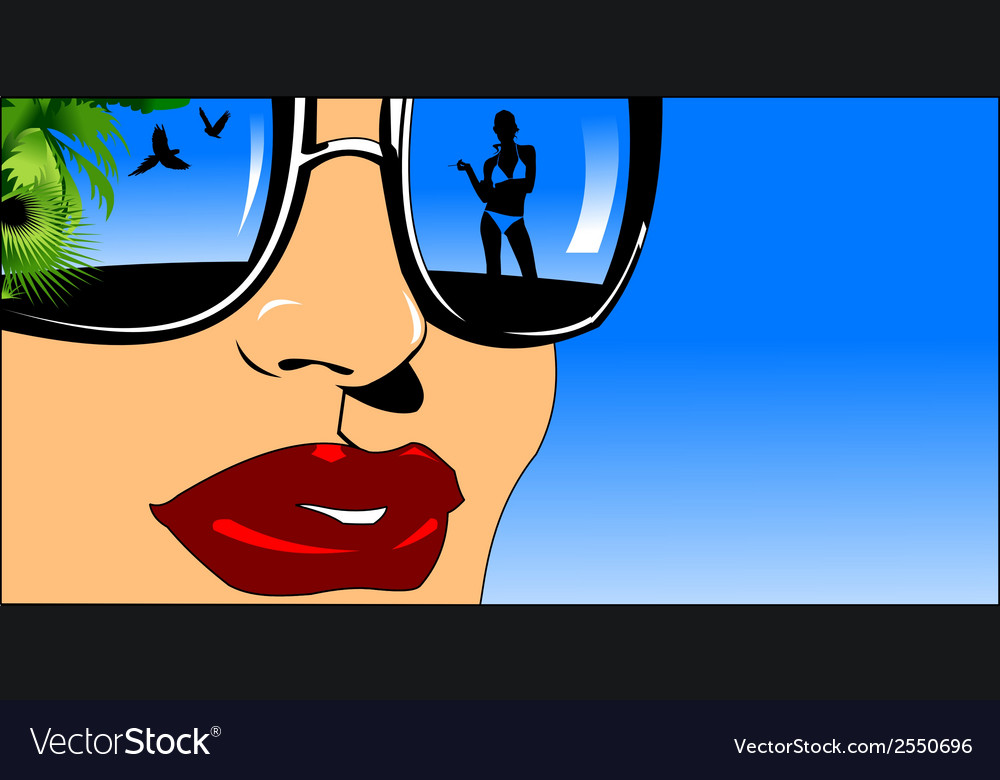 Woman with reflective glasses vector | Price: 1 Credit (USD $1)