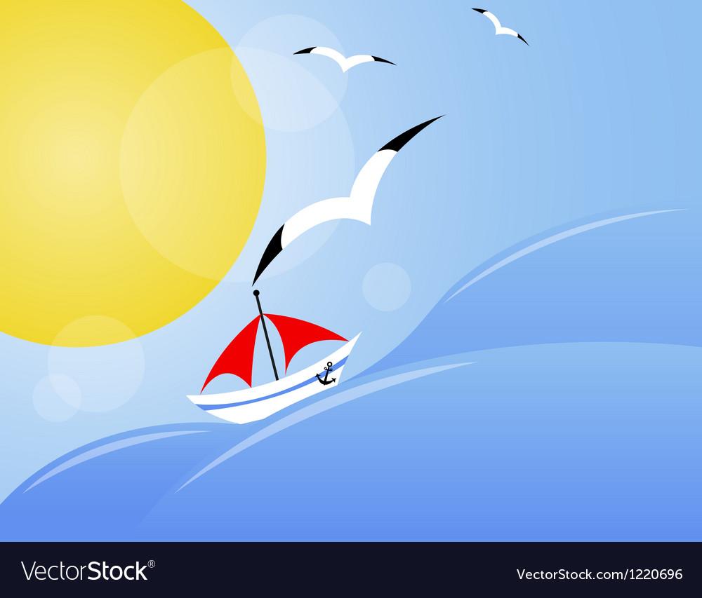 Yacht on sea vector | Price: 1 Credit (USD $1)