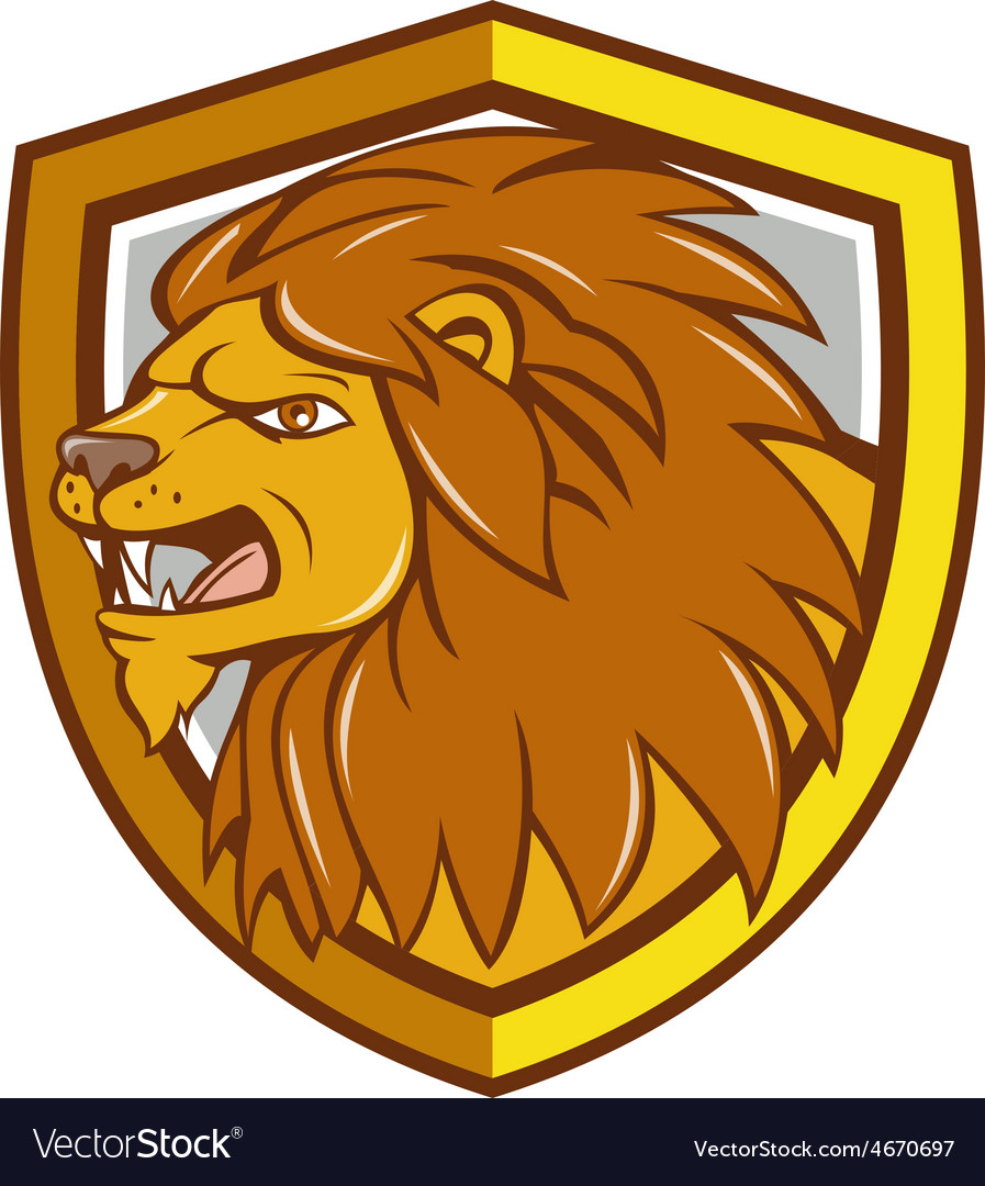 Angry lion head roar shield cartoon vector   Price: 1 Credit (USD $1)