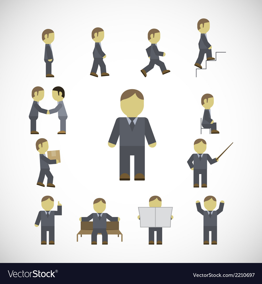 Business man activities icons set vector | Price: 1 Credit (USD $1)