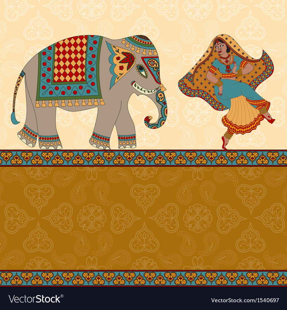 Dancing indian woman elephant and border vector | Price: 1 Credit (USD $1)