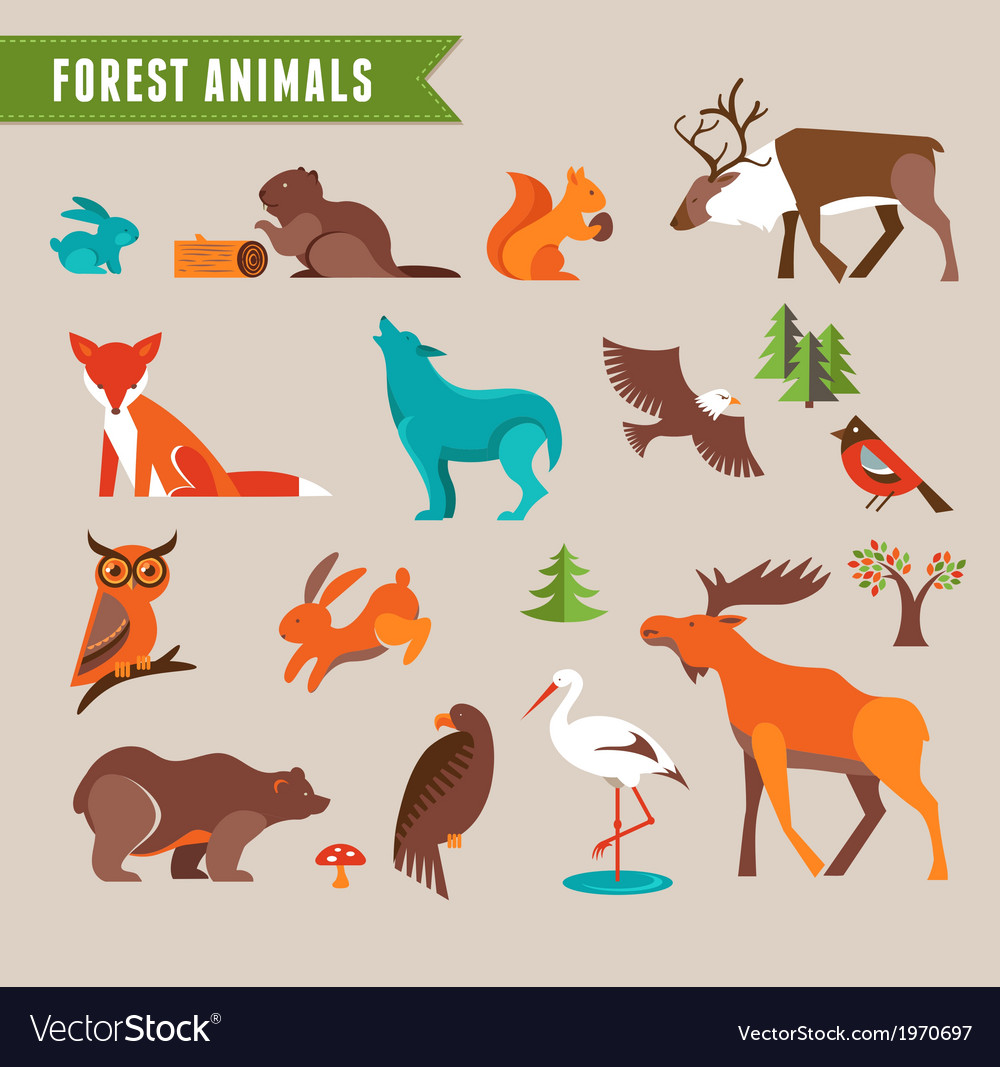 Forest animals set vector | Price: 1 Credit (USD $1)