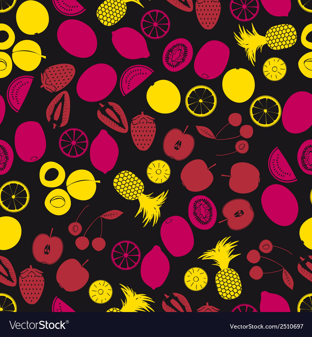 Fruits and half fruits color seamless pattern vector | Price: 1 Credit (USD $1)