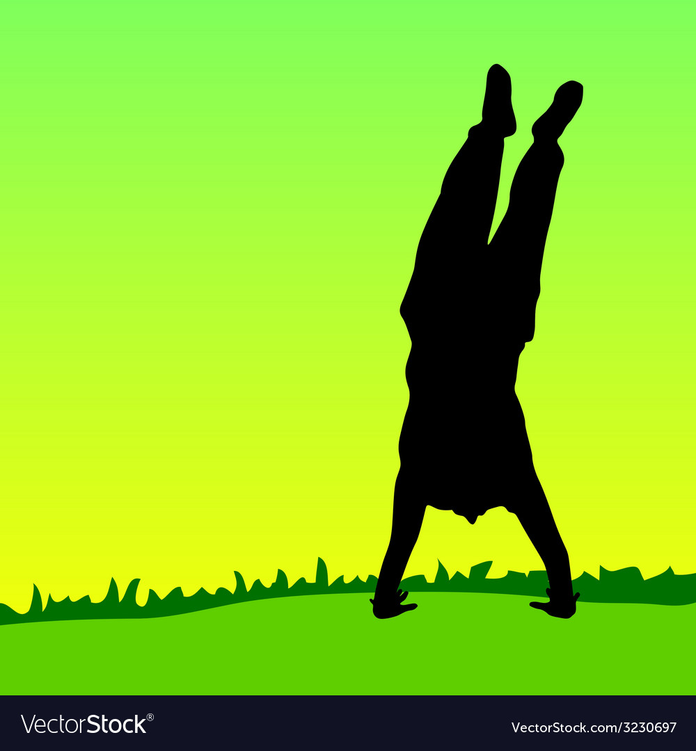 Handstand on green grass black silhouette vector | Price: 1 Credit (USD $1)