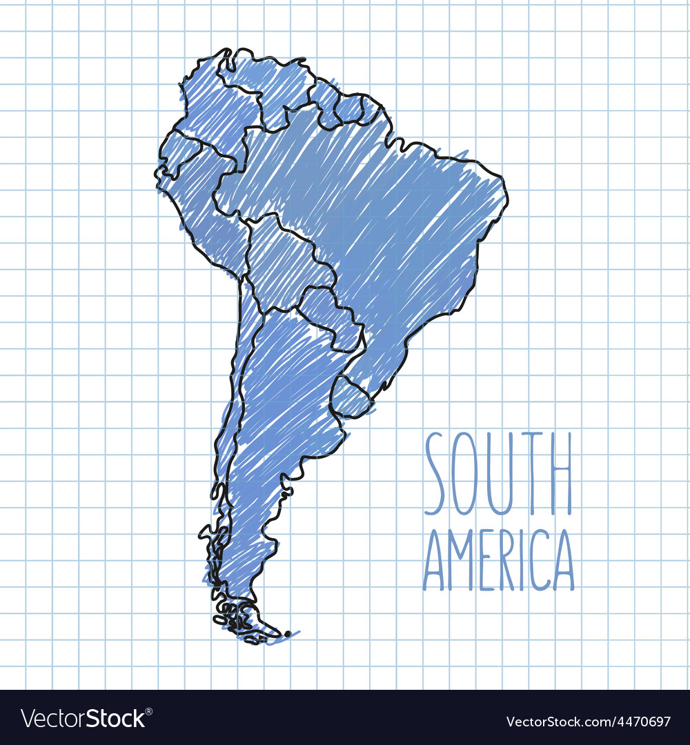 Pen hand drawn south america map on paper vector | Price: 1 Credit (USD $1)