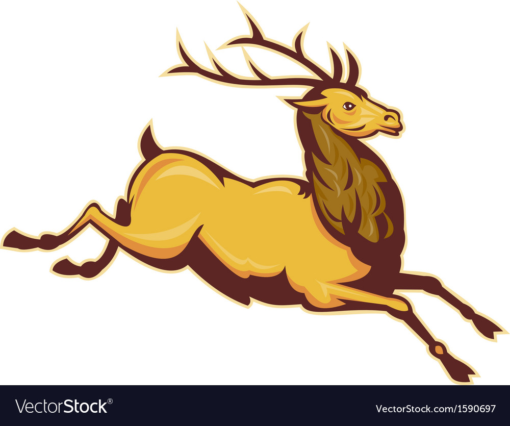 Stag deer or buck jumping vector | Price: 1 Credit (USD $1)
