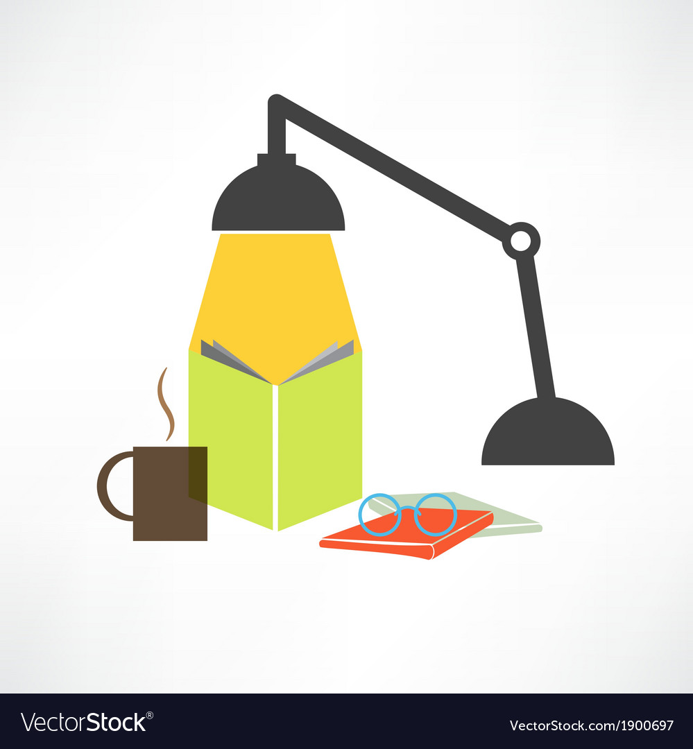 Study with a lamp vector | Price: 1 Credit (USD $1)
