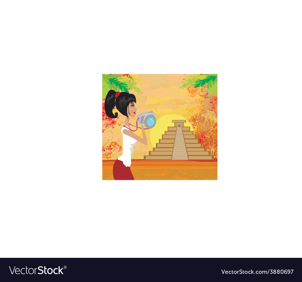 Tourist photographs mayan pyramid vector | Price: 1 Credit (USD $1)