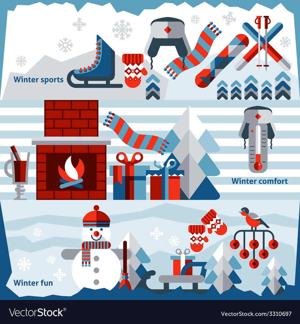 Winter banner set vector | Price: 1 Credit (USD $1)