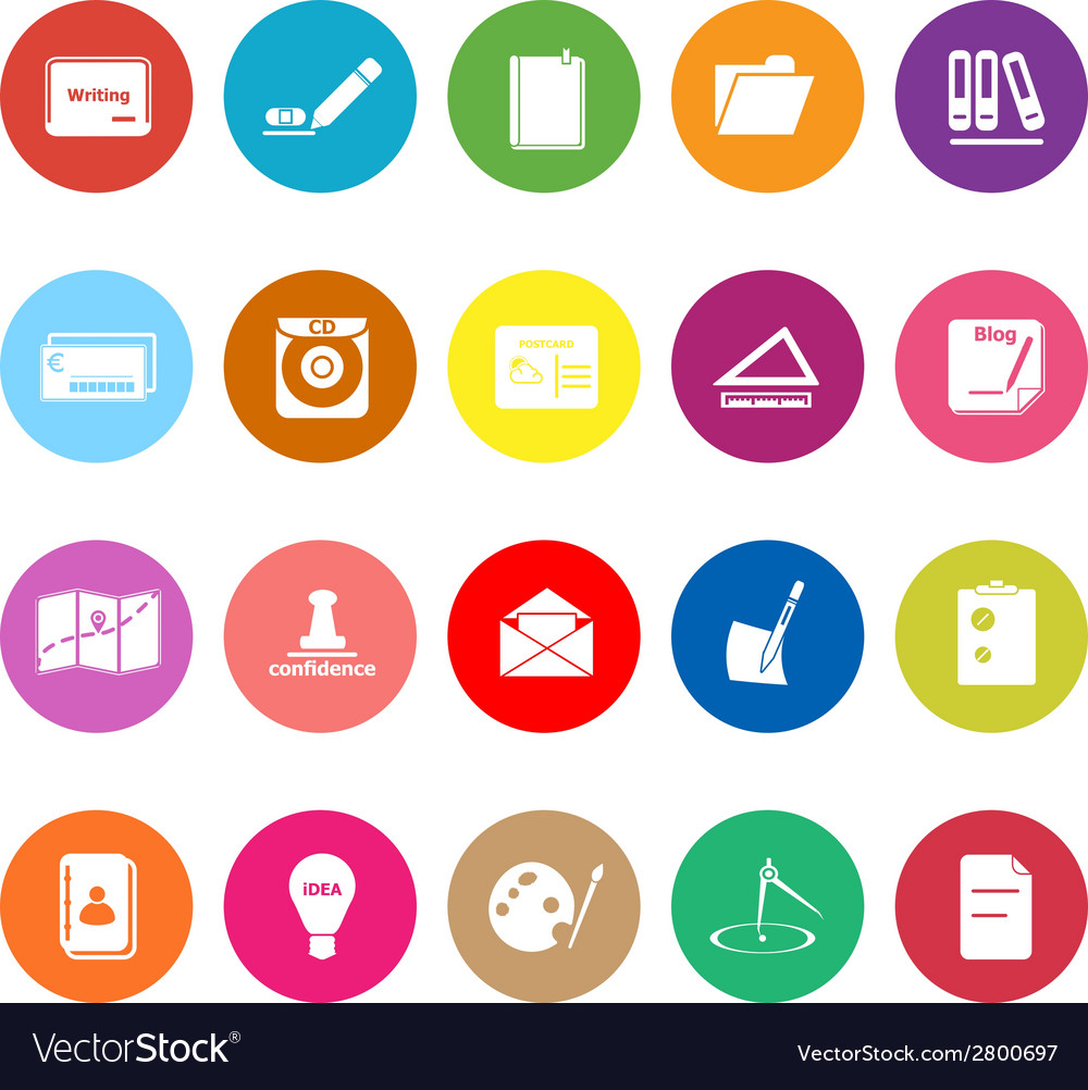 Writing related flat icons on white background vector | Price: 1 Credit (USD $1)