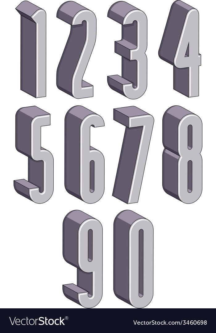 3d tall condensed numbers set vector | Price: 1 Credit (USD $1)