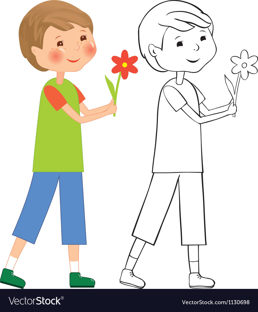 Boy with flower vector | Price: 1 Credit (USD $1)